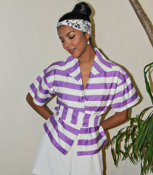 Florence Fling Sicily Kimono Top with Sash (Violet Stripes)