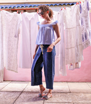Top - Kiryat Babydoll Cropped Top (Light Blue Striped)