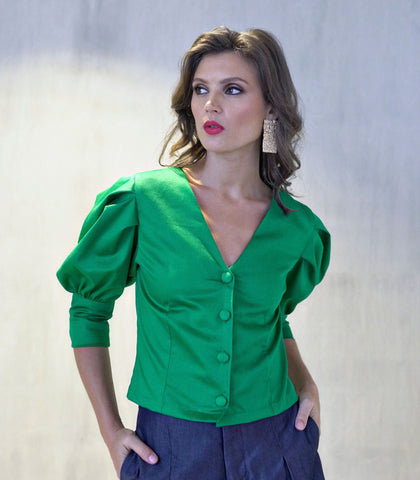 Top - Lajas Puff Sleeved Button-Down Top (Shamrock Green)