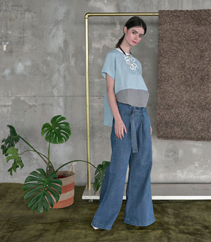 Top - Lima Boxy Linen Tee (Light Blue)