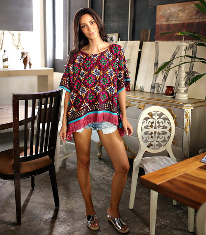 Top - Noroeste Hand Embroidered Poncho