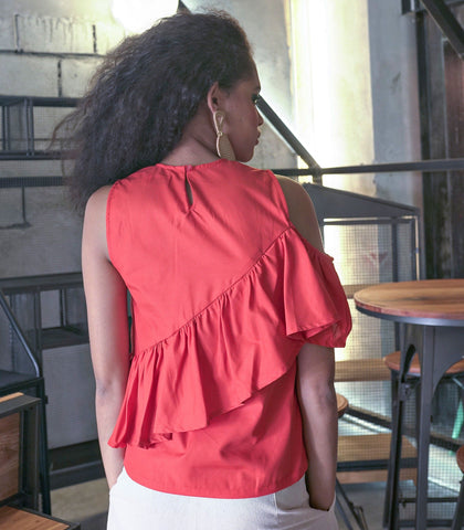 Top - Pari One Shoulder Ruffled Top