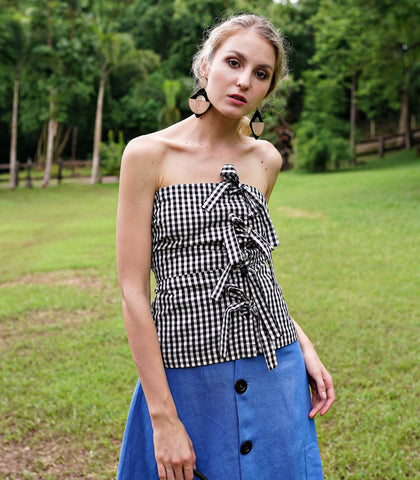 Top - Pavi Gingham Ribbons Tube Top