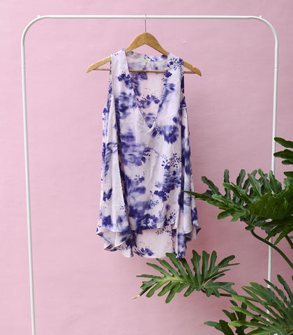 Top - Sample 169|  Blouse - Banfora Painterly Floral Cutout Blouse