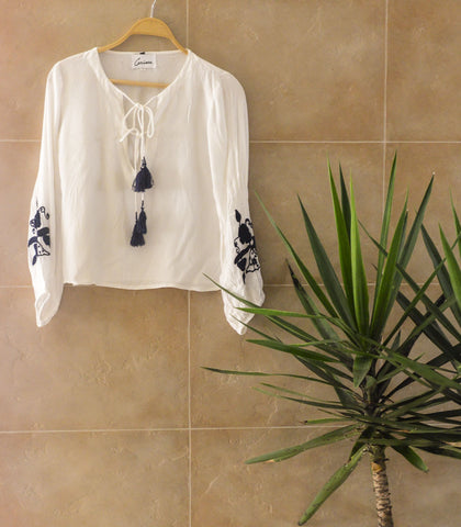 Top - Sample 218| Embroidered Balloon Sleeves Blouse