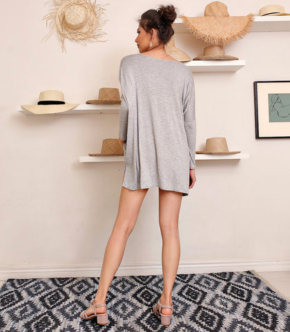 Top - Sara Wide Gray Pullover