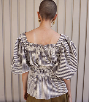 Soledad Striped Puff Sleeve Peplum Top
