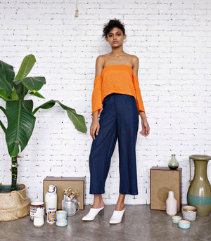 Top - Undo Clothing Lemta Linen Top (Tangerine)
