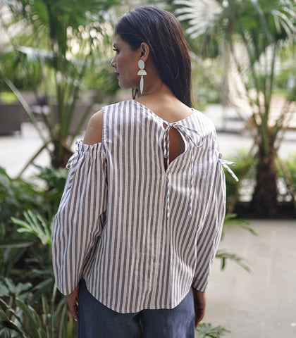 Top - Valence Cut-Out Striped Top