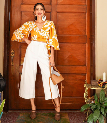 Top - Welkom Puff Sleeve Wrap Top (Marigold Tropical)