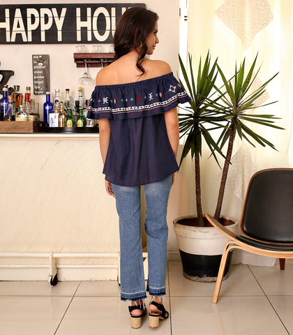 Tops - Manakara Off-the Shoulder Embroidered Top