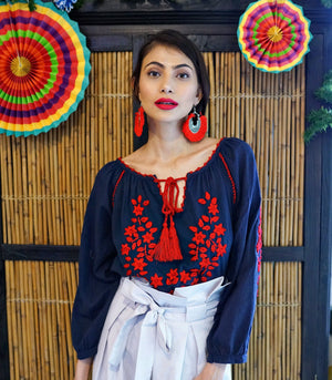 Tops - San Cristobal Embroidered Blouson