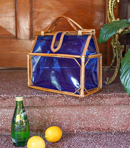 Tote - Solano PVC Tote Bag With Rattan Frame - Blue