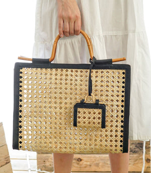 Solano Solihiya Handbag with Rattan Handle - Black