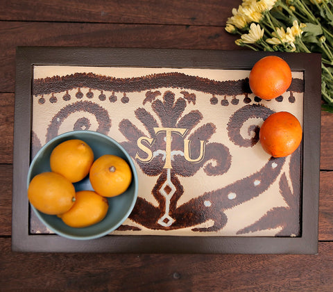 Tray - Brown Ikat Sofa Tray