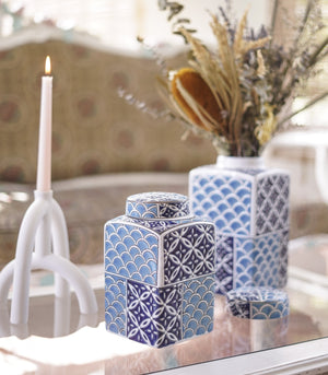 Vase - Sky Blue And Navy Combo Square Ginger Jar - 2 Sizes