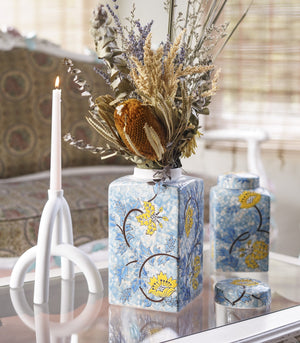 Vase - Sky Blue And Yellow Belle Square Ginger Jar - 2 Sizes