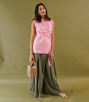 Zoersel Linen Trench Vest (Rose)