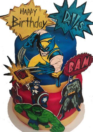 Comic Book Fondant Gumpaste Cake Decorations
