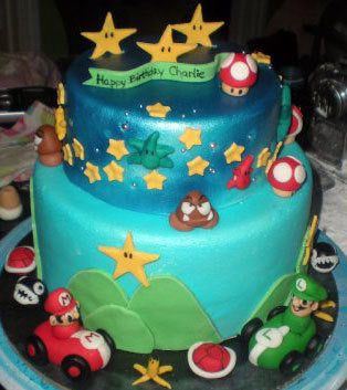 Mario Brothers Inspired Fondant Gumpaste Cake Decorations