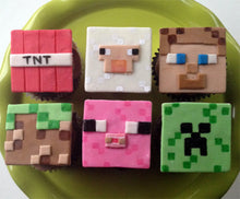Load image into Gallery viewer, Minecraft inspired Cupcake Toppers