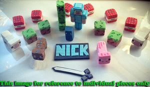 Minecraft Inspired Name Plaque Cake Topper