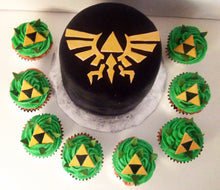 Load image into Gallery viewer, Zelda Triforce Cupcake Toppers