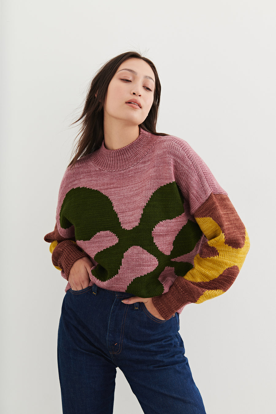 Adult All Over Leaves Sweater