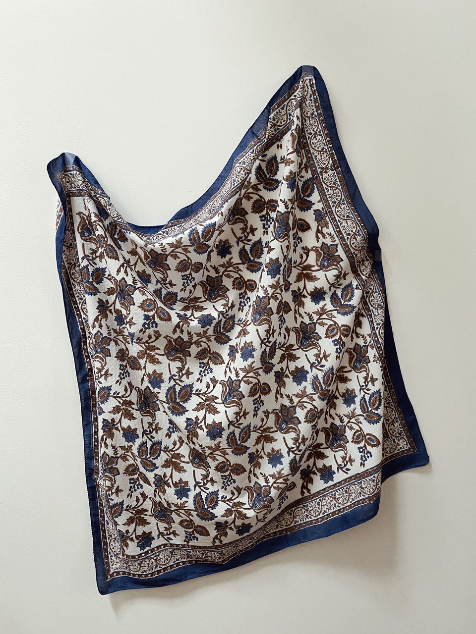 Block Printed Scarf - Indigo Flower