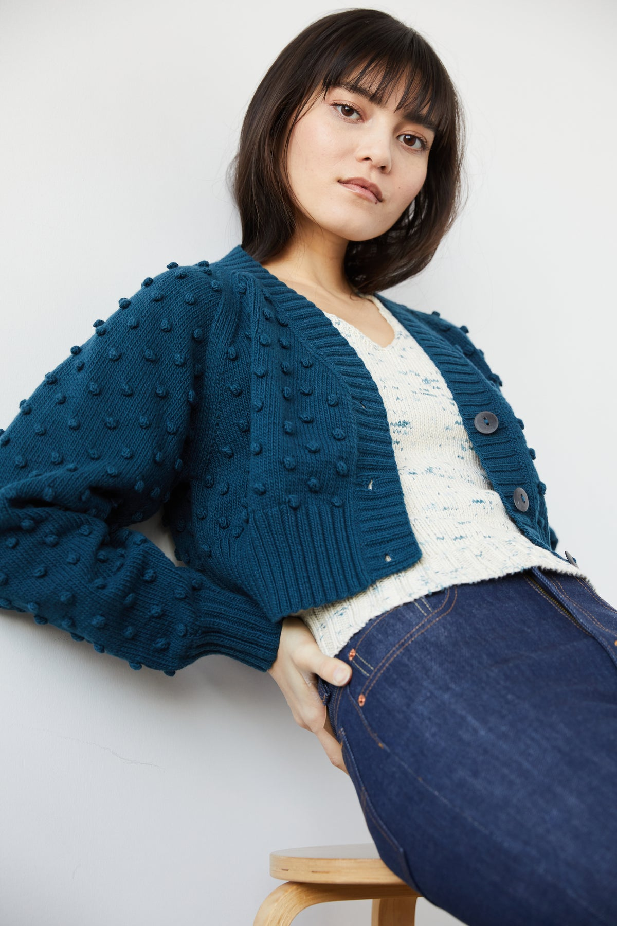 Adult Crop Popcorn Cardigan - Marine Blue