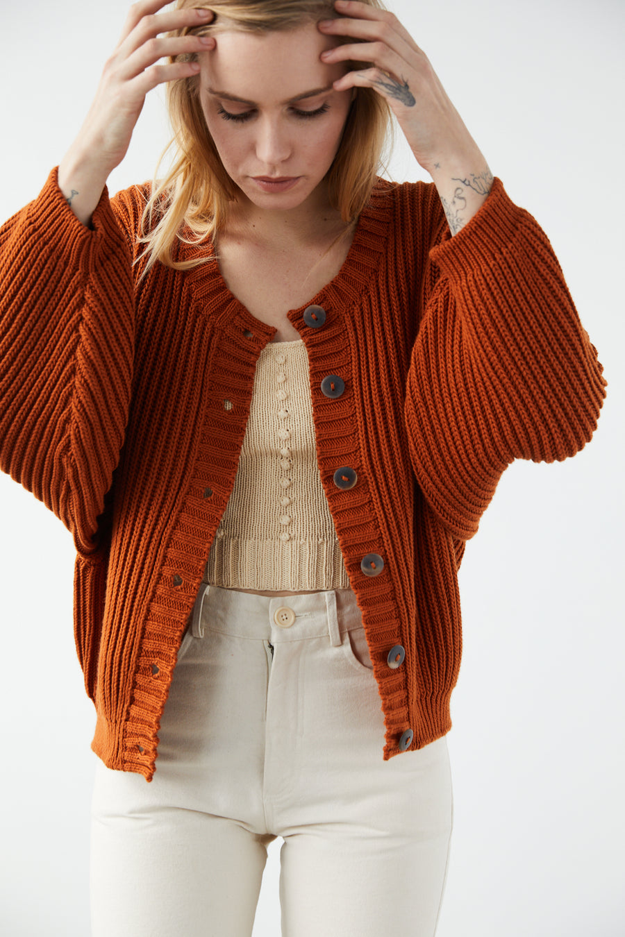 Adult Fisherman Cardigan - Gingerbread