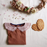 Blouse with Embroidered Collar