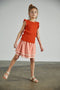 Tiered skirt - coral/vanilla