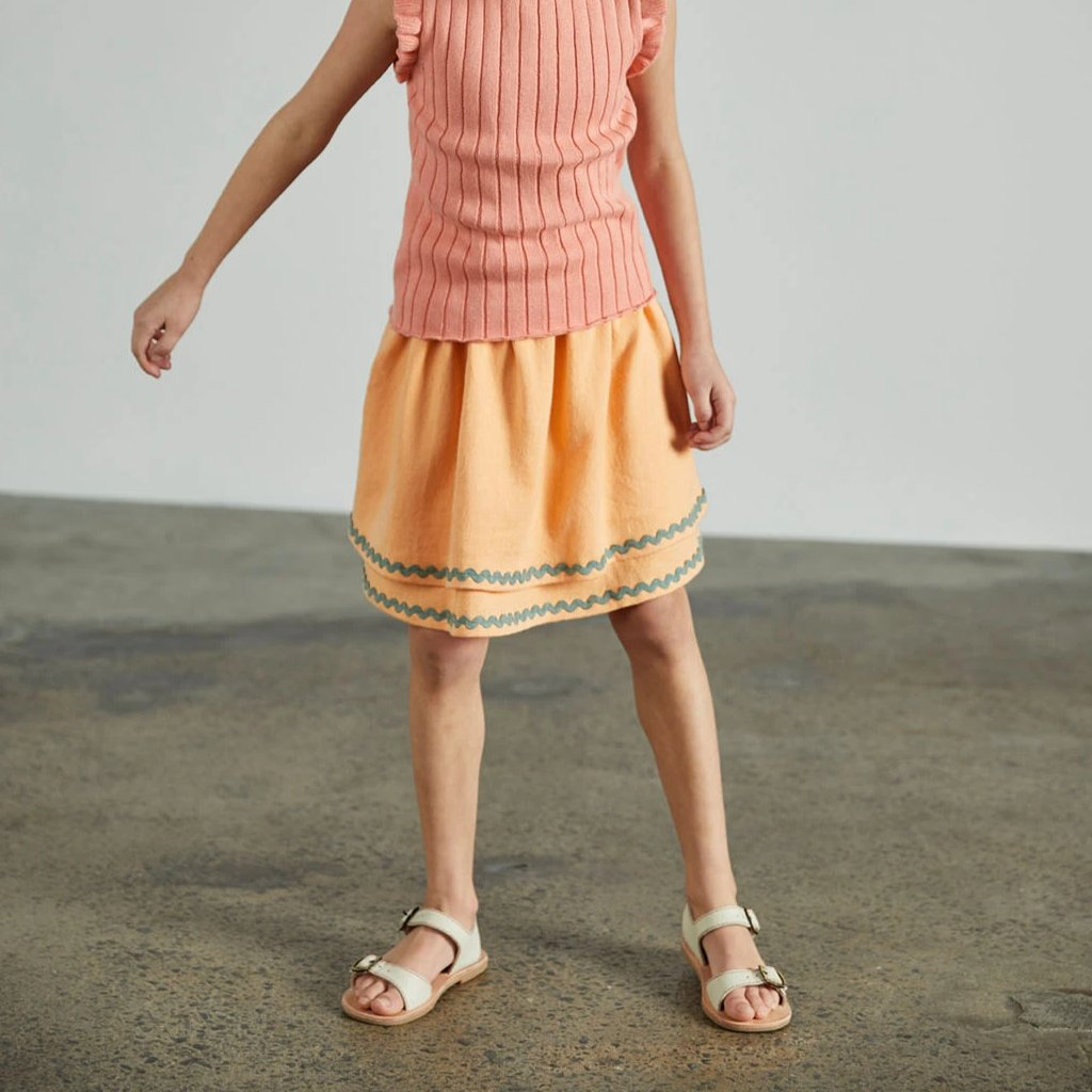 Tiered Skirt - Peach/Dusty Blue