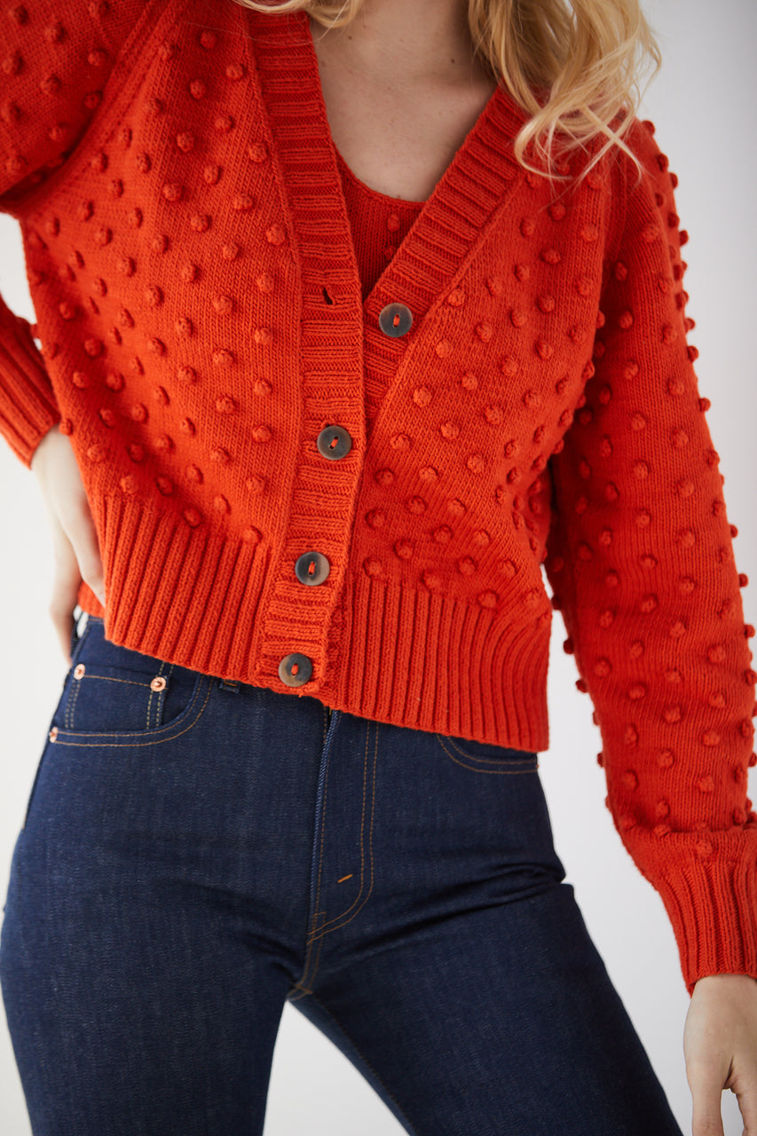 Adult V-Neck Popcorn Cardigan - Persimmon