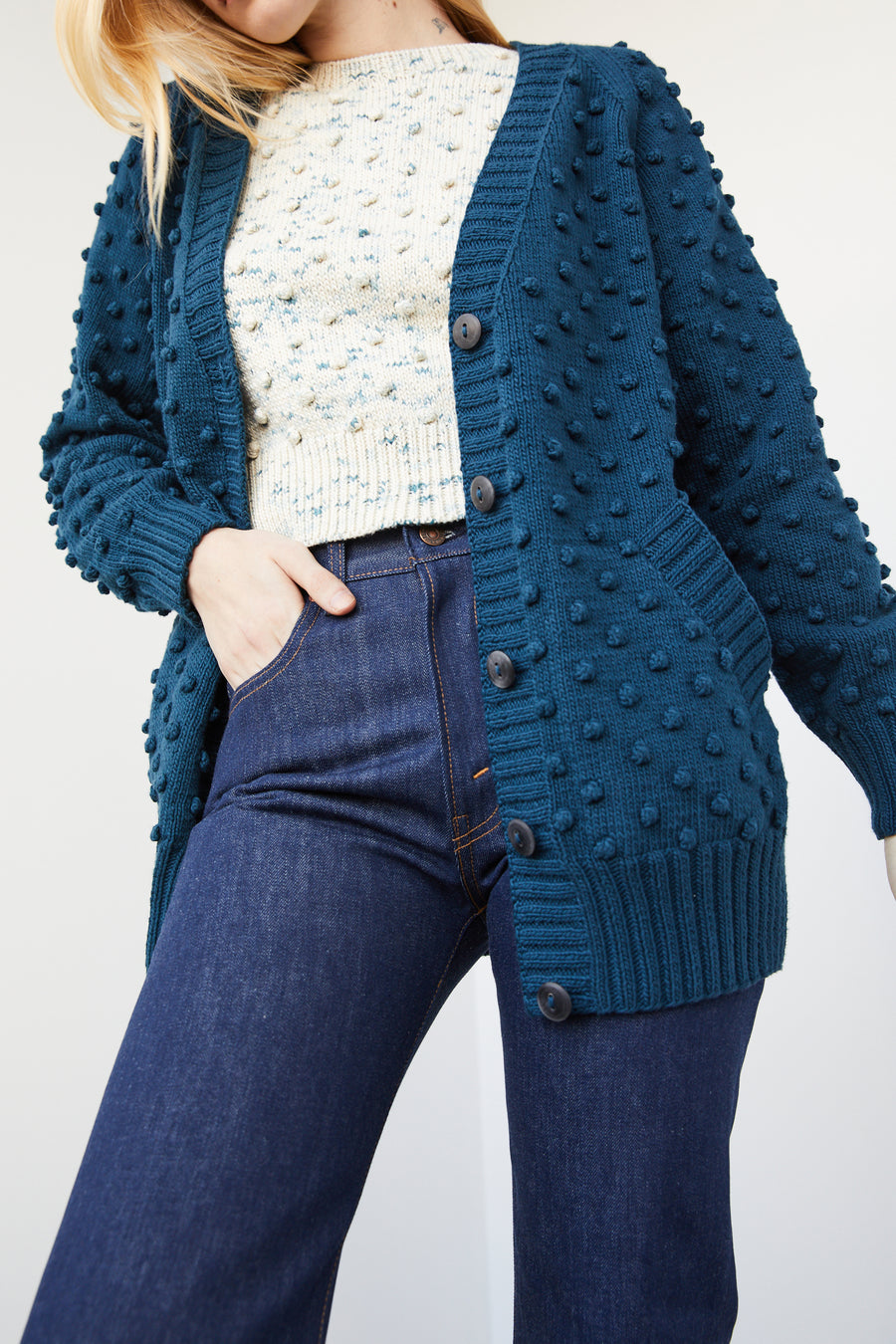Adult Popcorn Long Cardigan - Marine Blue