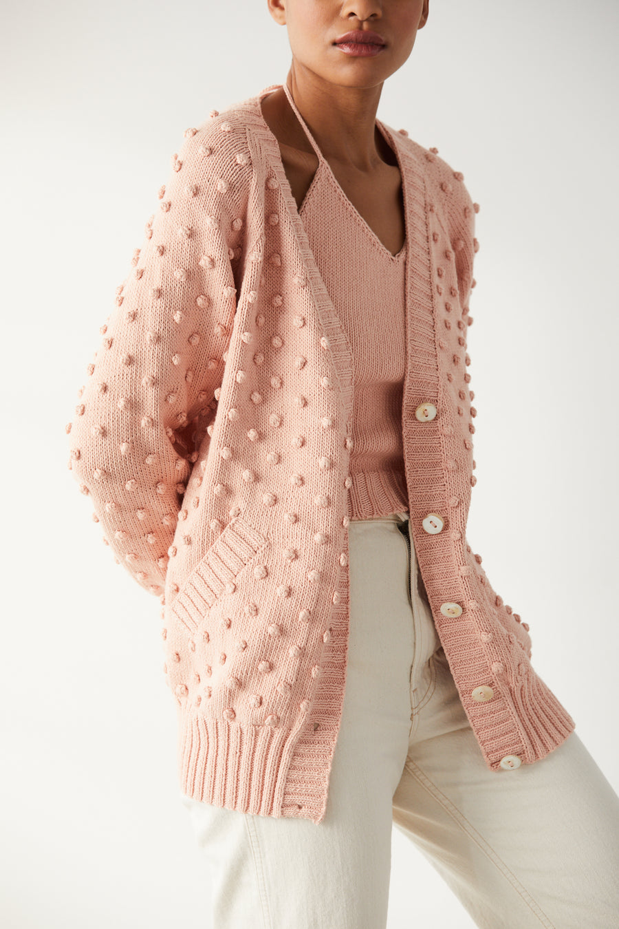 Adult Popcorn Long Cardigan - Rose Quartz