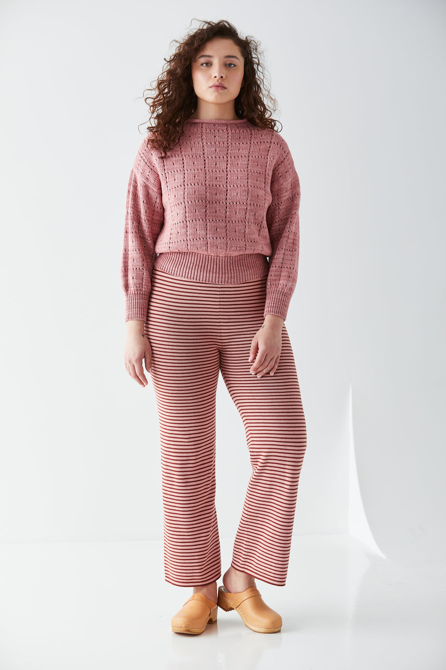 Adult Baby Stripes Pant - Rose Blush
