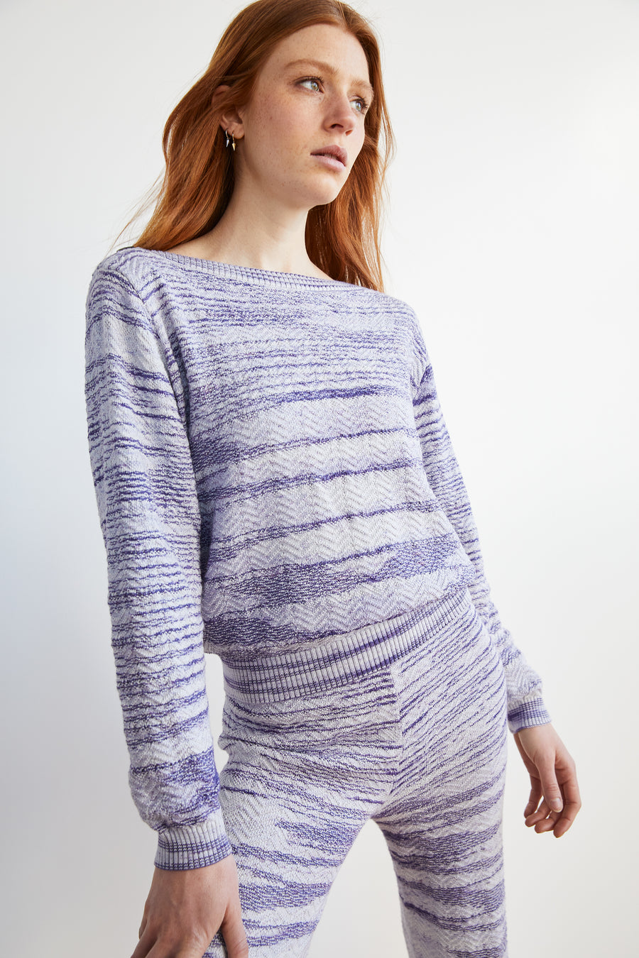 Adult Chevron Boatneck - Blue Space Dye