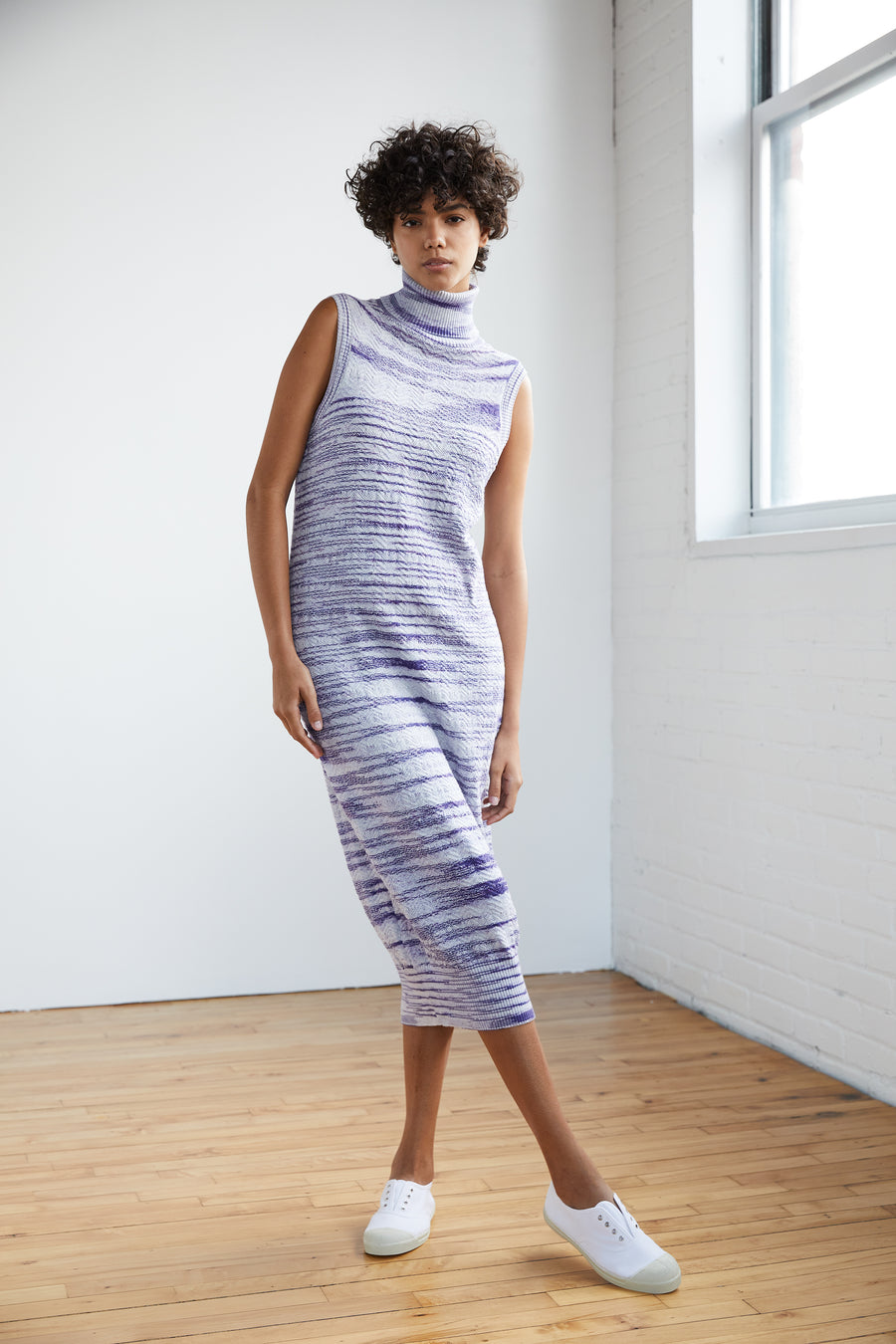 Adult Chevron Turtleneck Dress - Blue Space Dye