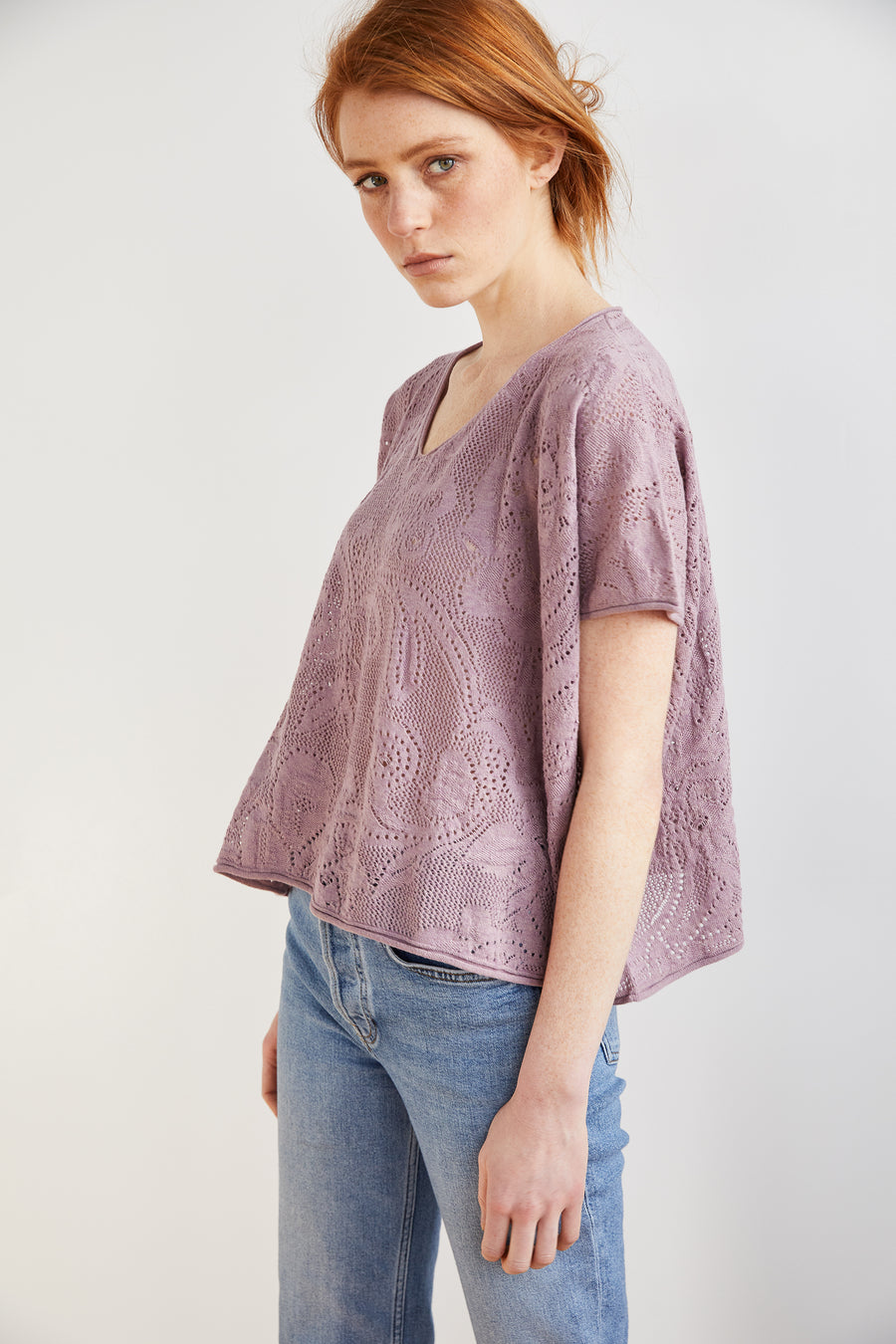 Adult Lace Cropped Tee - Antique Mauve