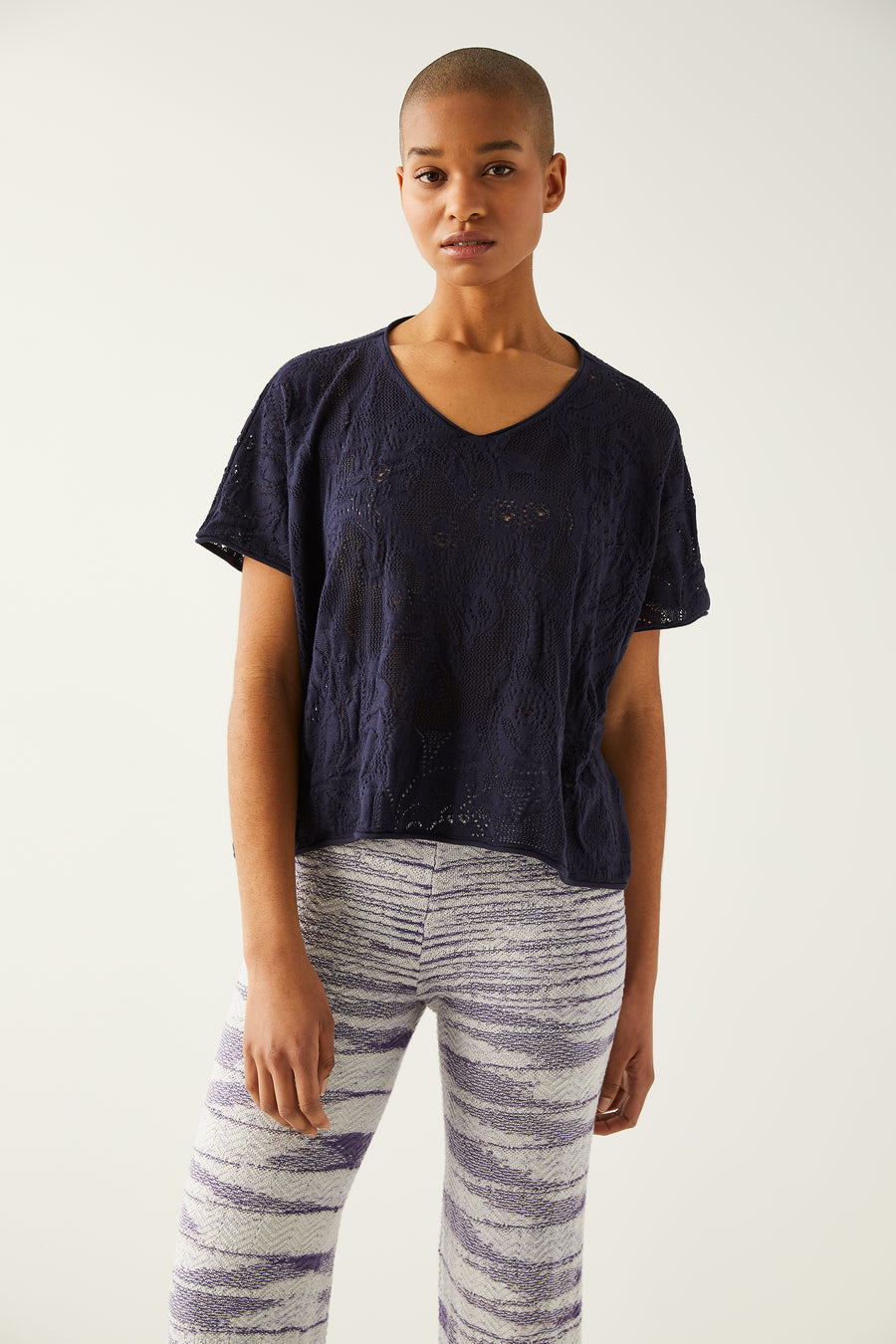 Adult Lace Cropped Tee - Maritime Blue