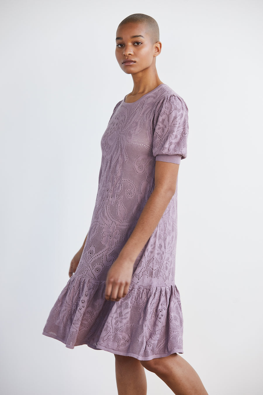 Adult Lace Puff Dress - Antique Mauve