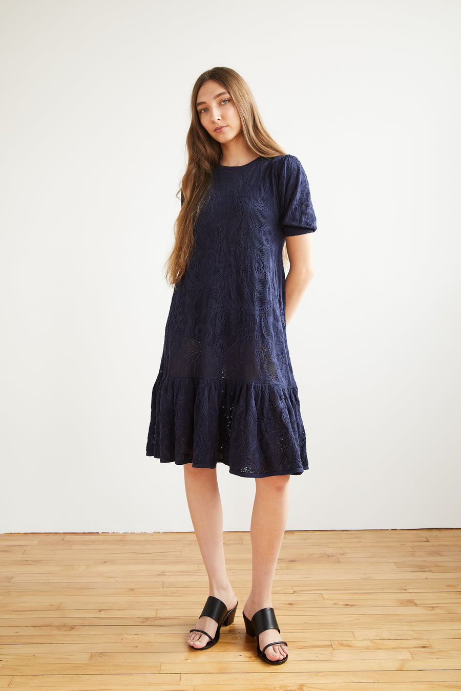 Adult Lace Puff Dress - Maritime Blue