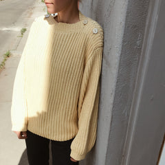Fisherman Boatneck Pullover / Buttercream
