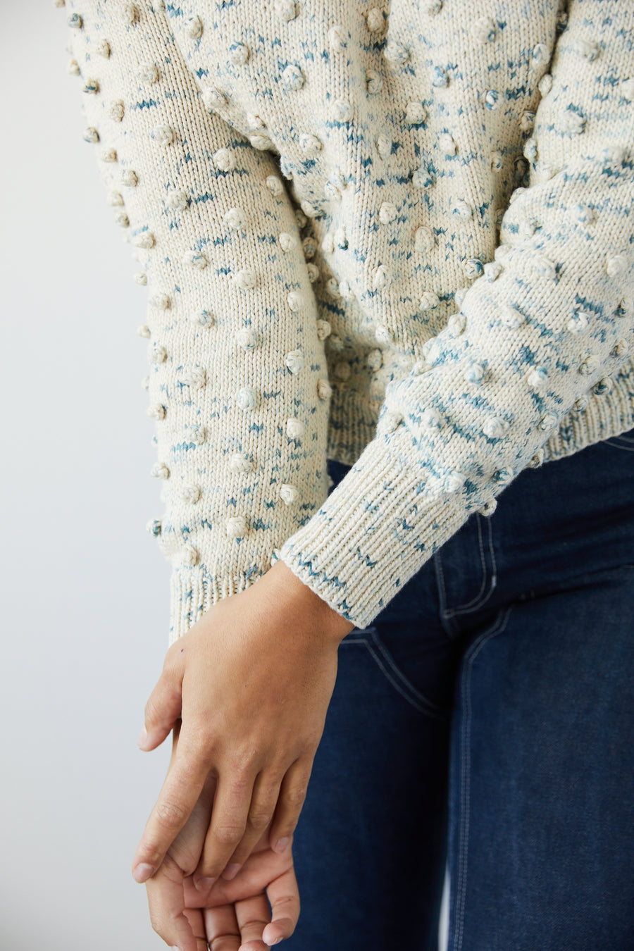 Adult Popcorn Crew Sweater - Sea Salt Confetti