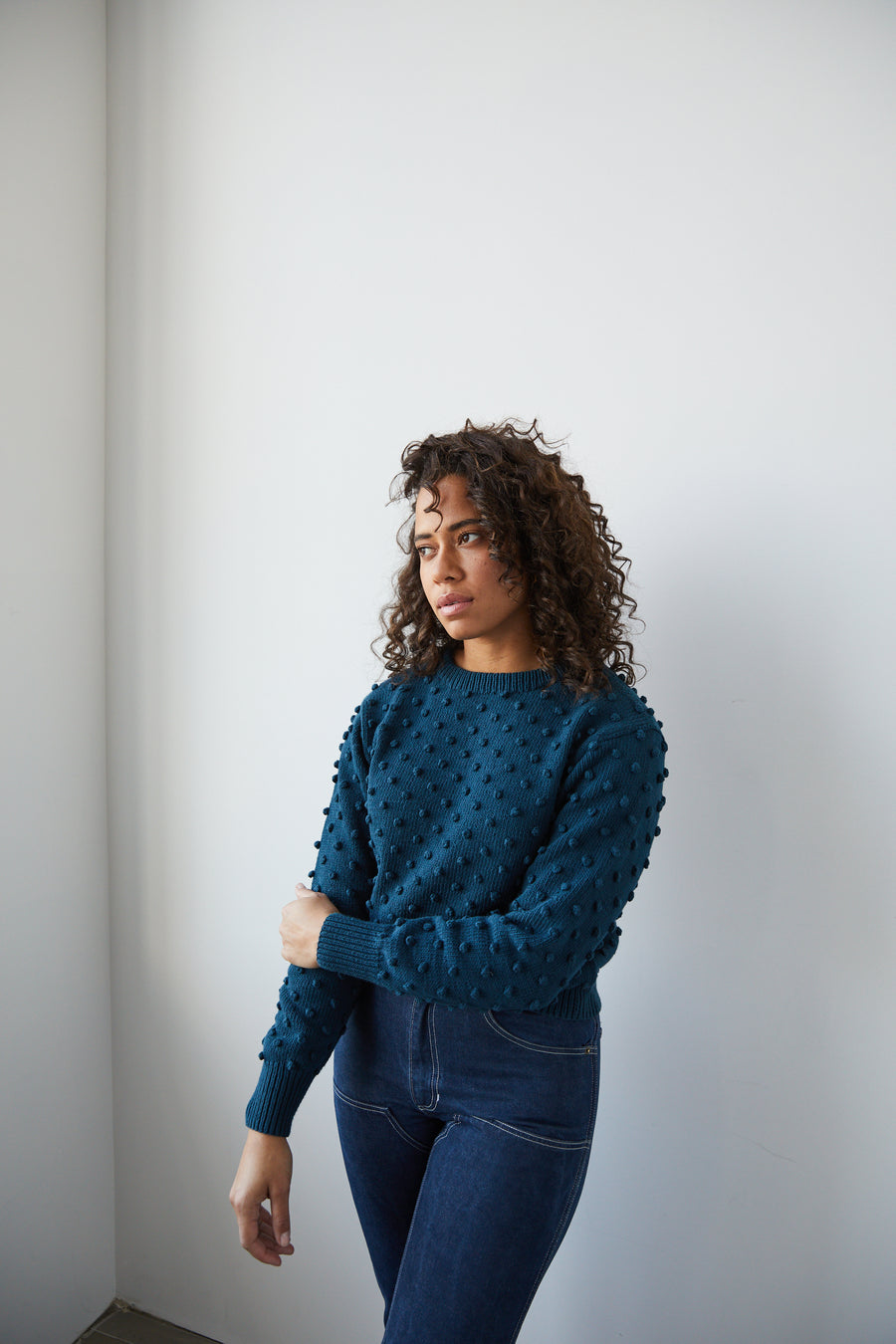 Adult Popcorn Crew Sweater - Marine Blue