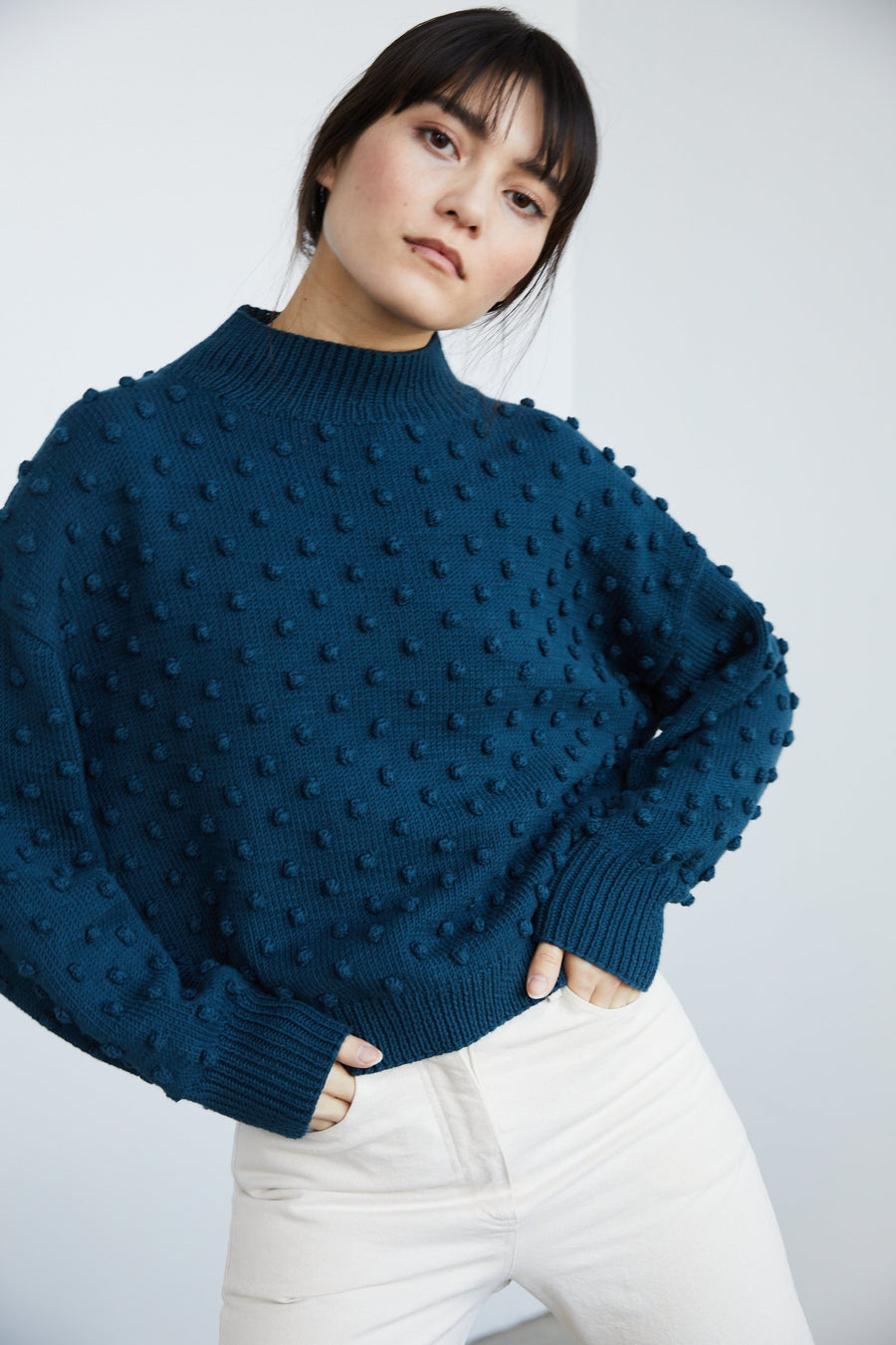 Adult Popcorn Sweater - Marine Blue