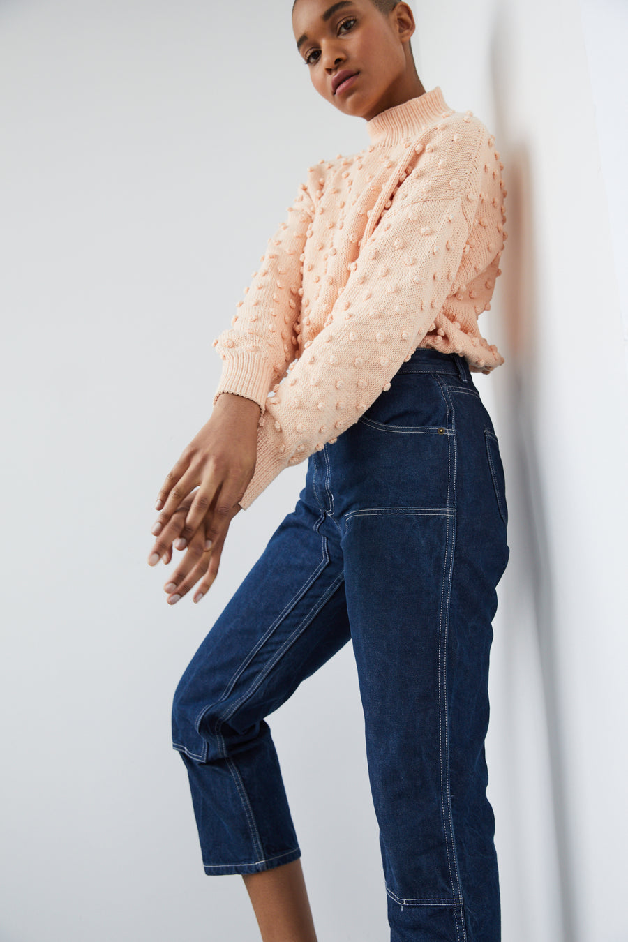 Adult Popcorn Sweater - Light Peach