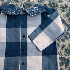 Plaid Blouse with Embroided Collar